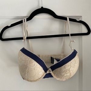 Adore Me cream and navy lace bra - 34D